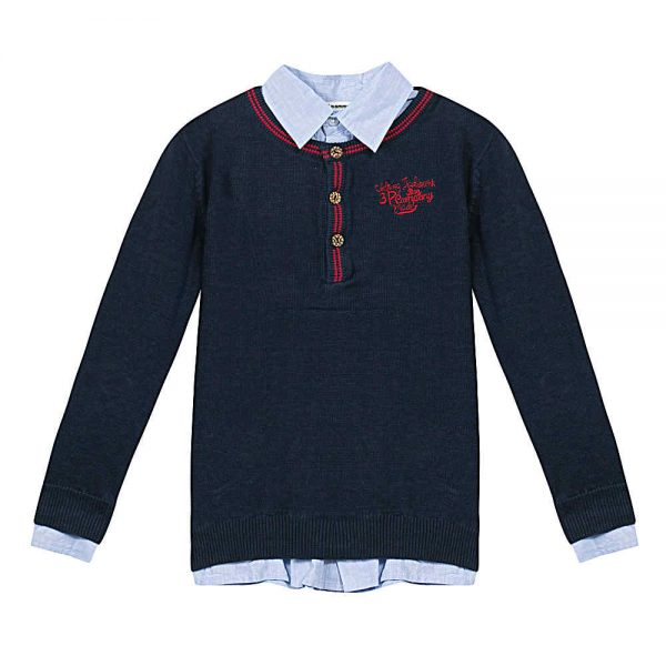 Image of 3 Pommes Boys Navy Blue Jumper