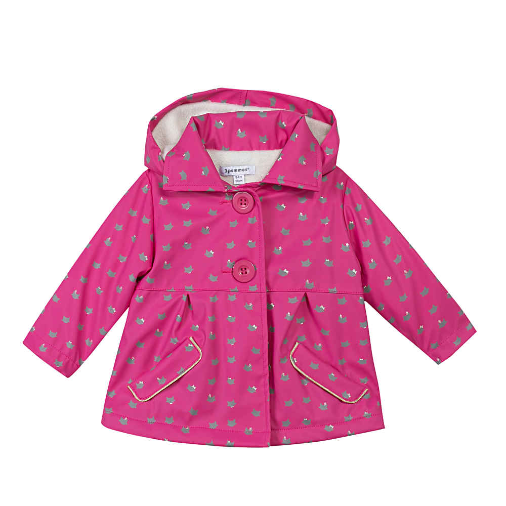aa69c7bc96f7 3 Pommes Baby Girls Pink Rain Coat With Hood