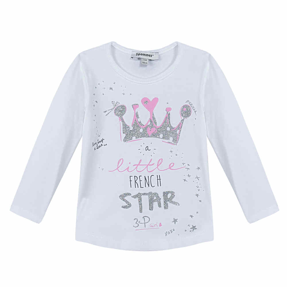 Image of 3 Pommes baby girls long sleeve white top