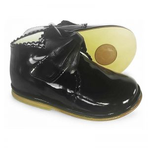 Borboleta Girls Black Leather Ankle Boots