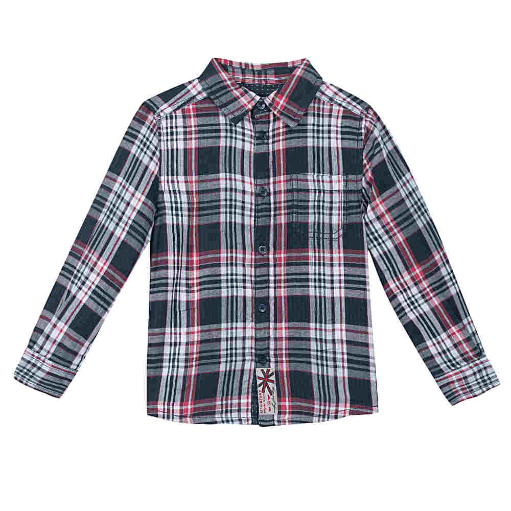 Image of 3 Pommes Boys Red and Navy Checked Shirt