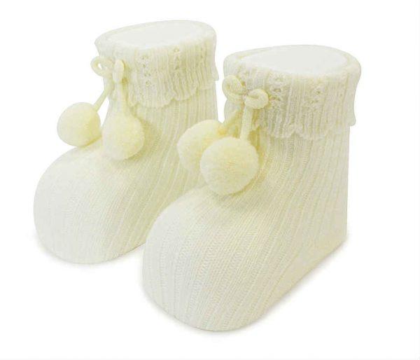 Carlomagno Cream Pom Pom Baby Socks