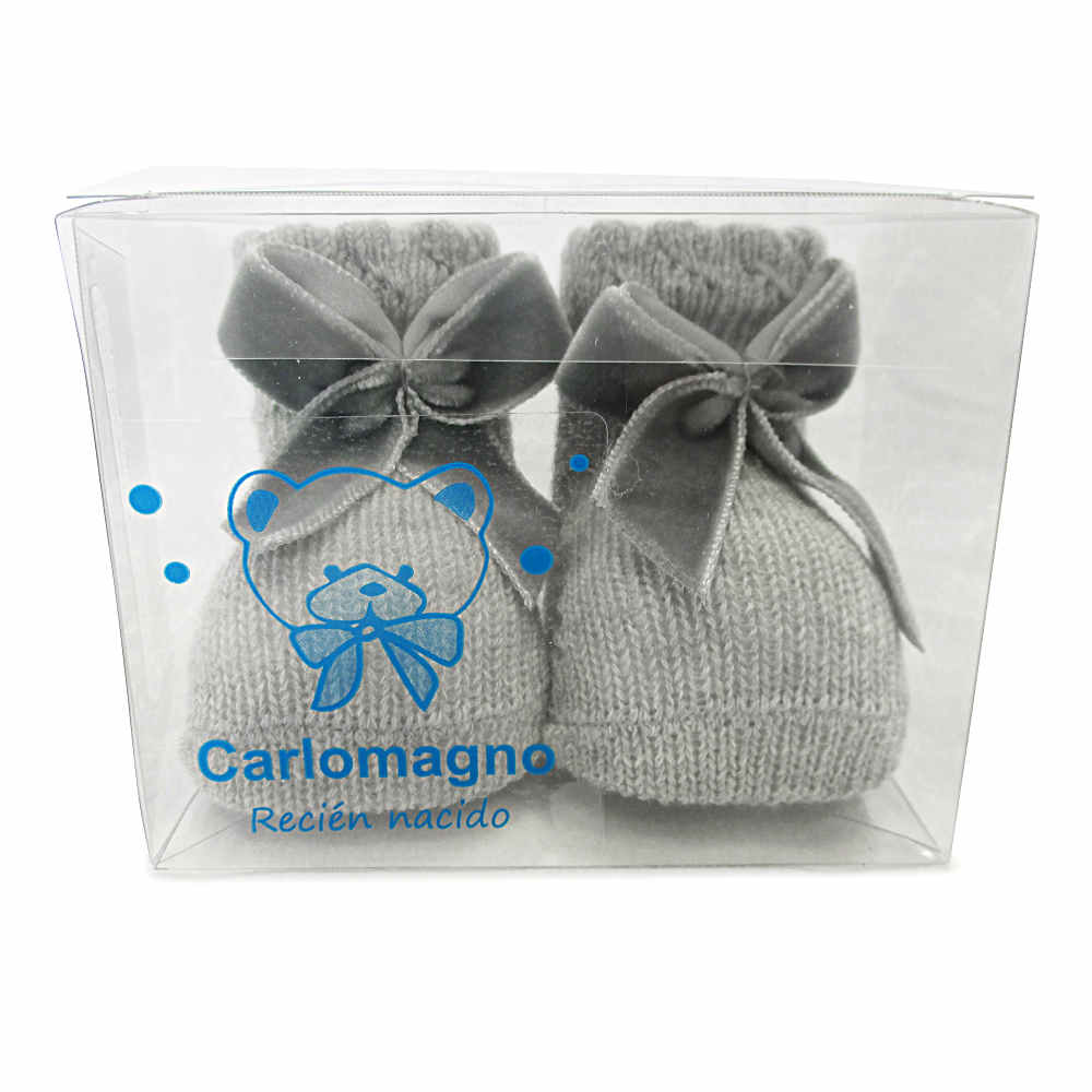 Carlomagno Grey Ankle Socks With Bow