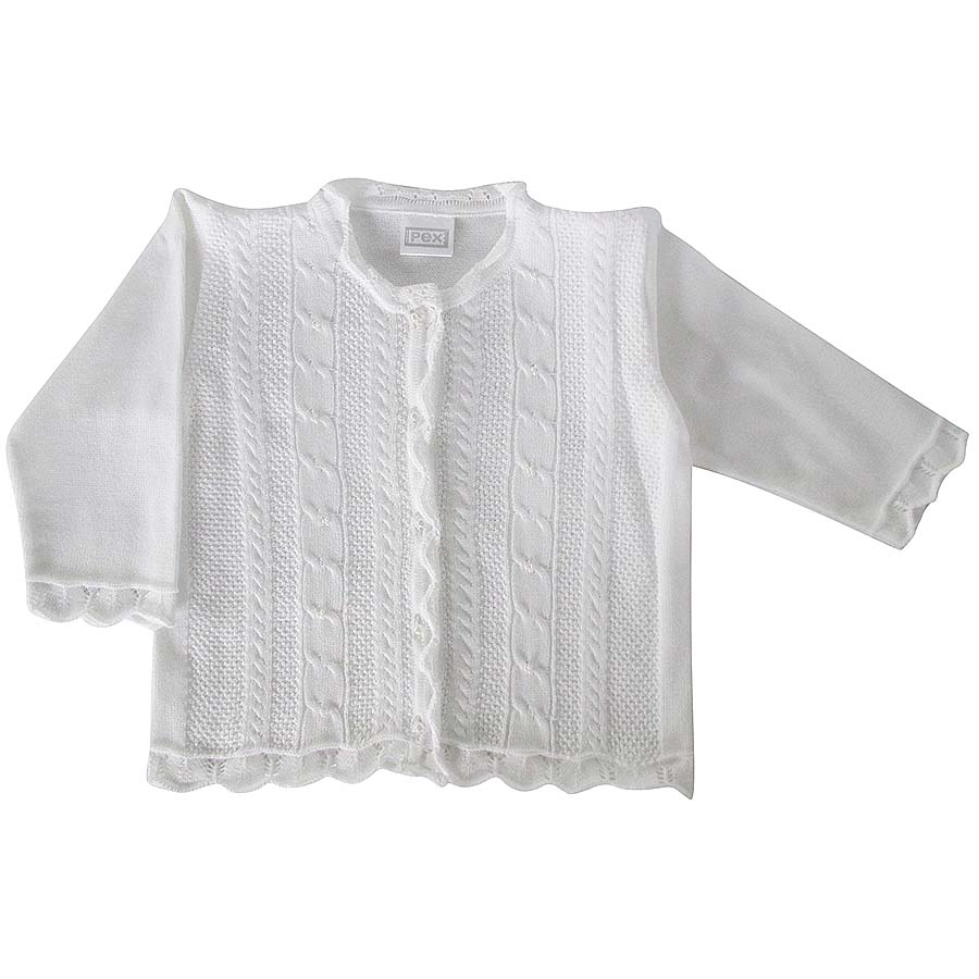Pex Baby Girls Plain White Cardigan