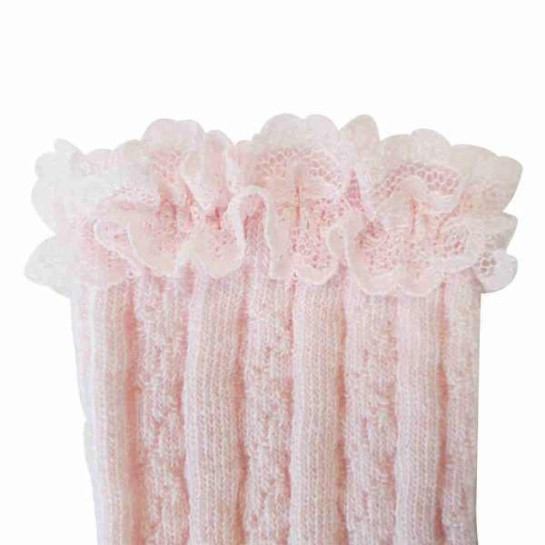 Carlomagno Girls Pink Lace Knee High Socks