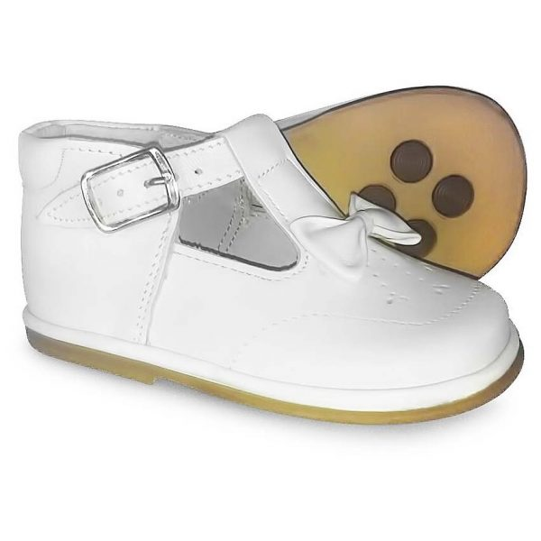 Fofito Girls White T-bar Shoes