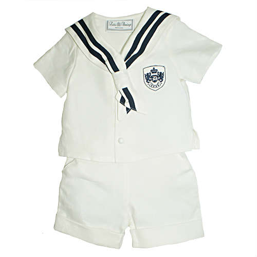 Little Darlings Baby Boys Ivory Sailor Suit