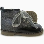 Panyno Girls Black Glitter Ankle Boots