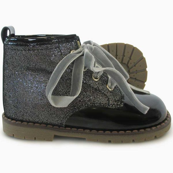 Panyno Girls Black Glitter Ankle Boots
