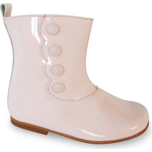 Panyno Girls Pink Patent Leather Ankle Boots