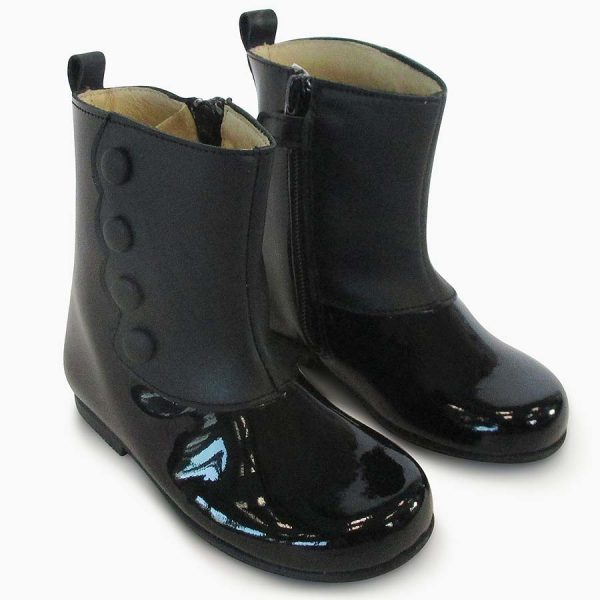 Panyno Girls Black Patent Leather Ankle Boots