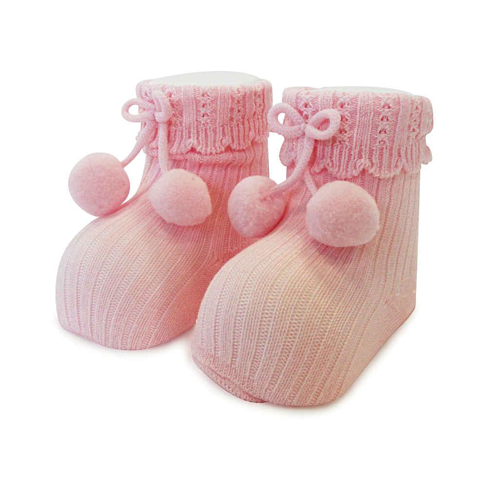 Carlomagno Baby Girls Pink Pom Pom Socks