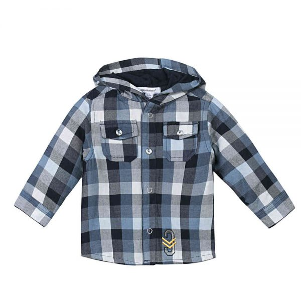 Image of 3 Pommes Baby Boys Blue Checked Shirt