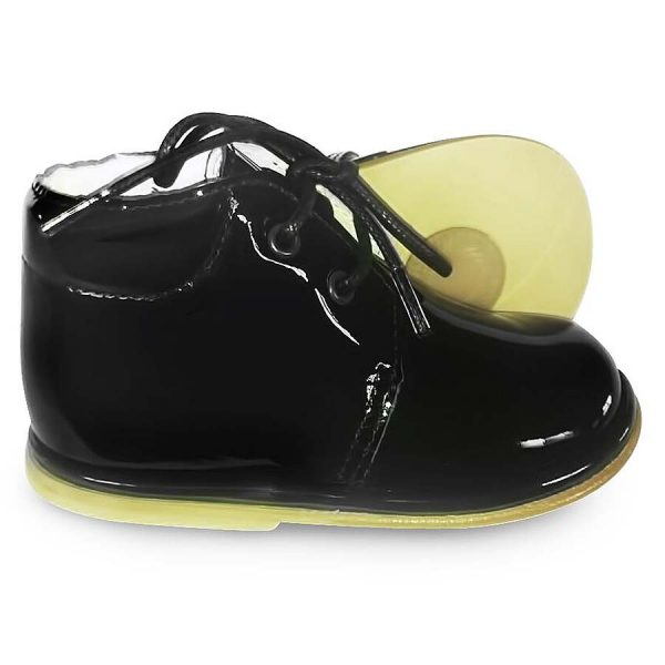 Borboleta Boys Black Patent Leather Boots