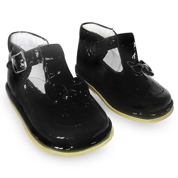Fofito Girls Black Patent Leather T-Bar Shoes