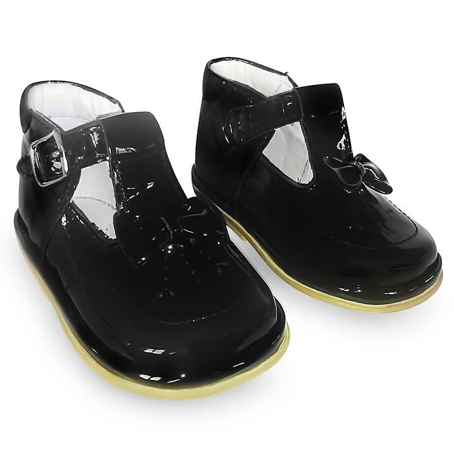 Fofito Girls Black Patent Leather T-Bar Shoes