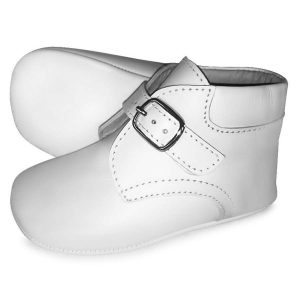 Borboleta Baby Boys White Leather Pre-Walking Boots