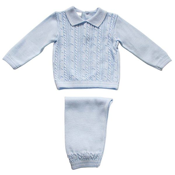 Pex Baby Boys Blue Knitted Suit