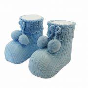 Carlomagno Baby Boys Blue Pom Pom Socks