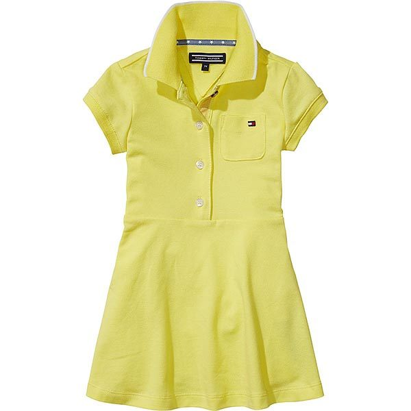 Tommy Hilfiger Girls Yellow Cotton Polo Shirt Dress
