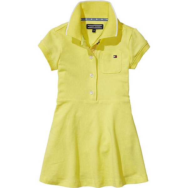b4a81ba53b3e Tommy Hilfiger Girls Yellow Cotton Polo Shirt Dress