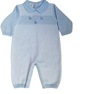 Image of Pex Baby Boys Pale Blue Long Sleeve Romper