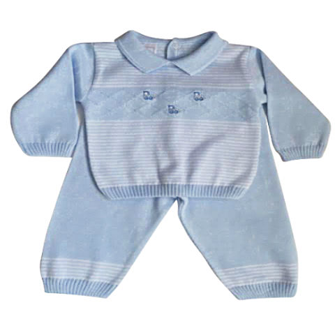 image of pex baby boys long sleeve blue knitted suit