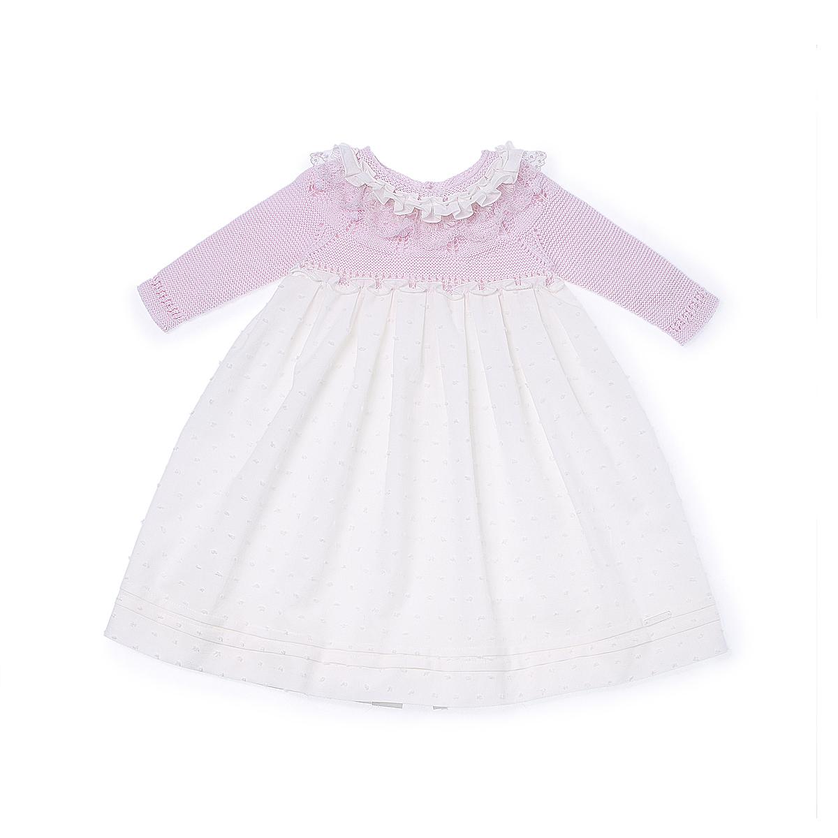 Pili Carrera Baby Girls Dress and Bonnet