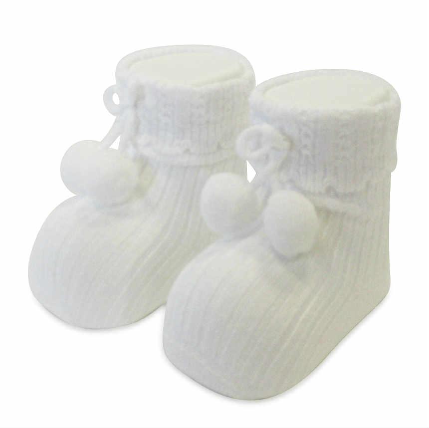 Carlomagno White Ankle Pom Pom Socks