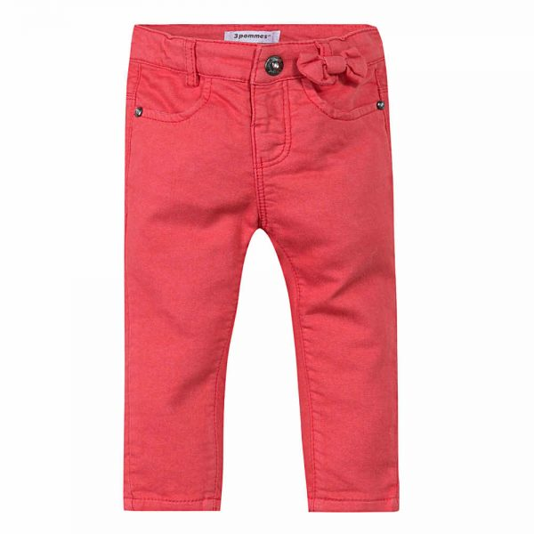 Image of 3 Pommes Baby Girls Red Jeans with Bow