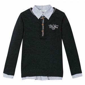 Image of 3 Pommes Boys Black Jumper with Shirt Collar