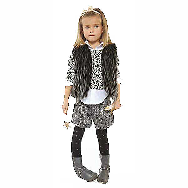 3 Pommes Girls Grey Leopard Print Top | Bumpalumpa.com