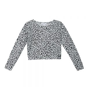 Image of 3 Pommes Girls Grey Leopard Print Top