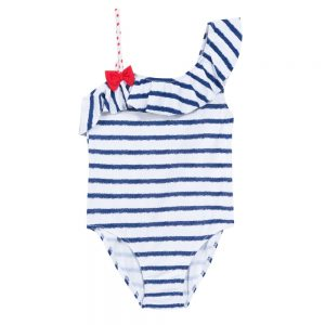 3 Pommes Girls Blue & White Stripe Swimsuit