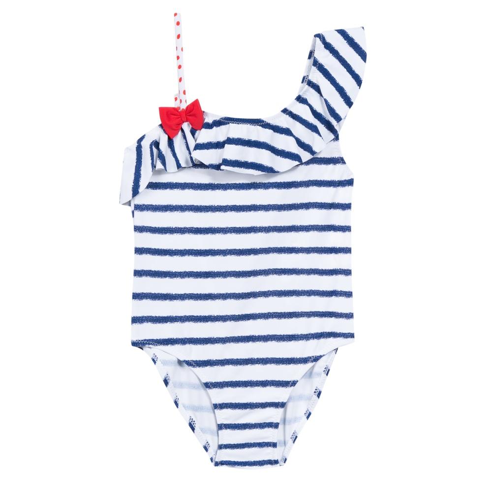 3 Pommes Girls Blue & White Stripe Swimsuit