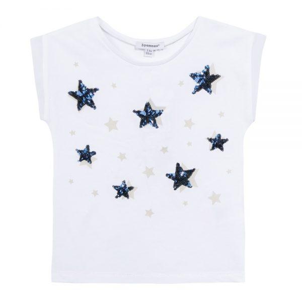 3 Pommes Girls Star Print White T-shirt