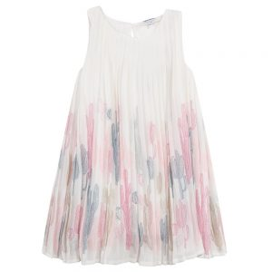 3 Pommes Girls Pleated Ivory Summer Dress