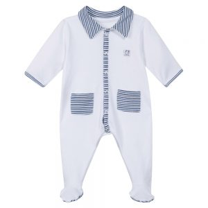 Absorba Baby Boys White Babygrow with Blue Stripes