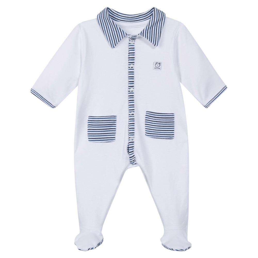 Absorba Baby Boys White Babygrow with Blue Stripes
