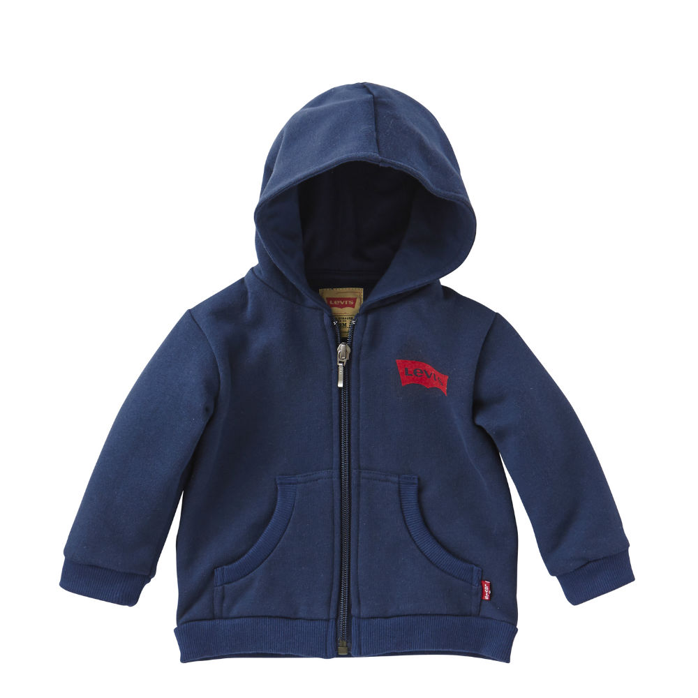 Levis Baby Boys Navy Blue Zip-Up Jersey Hoodie