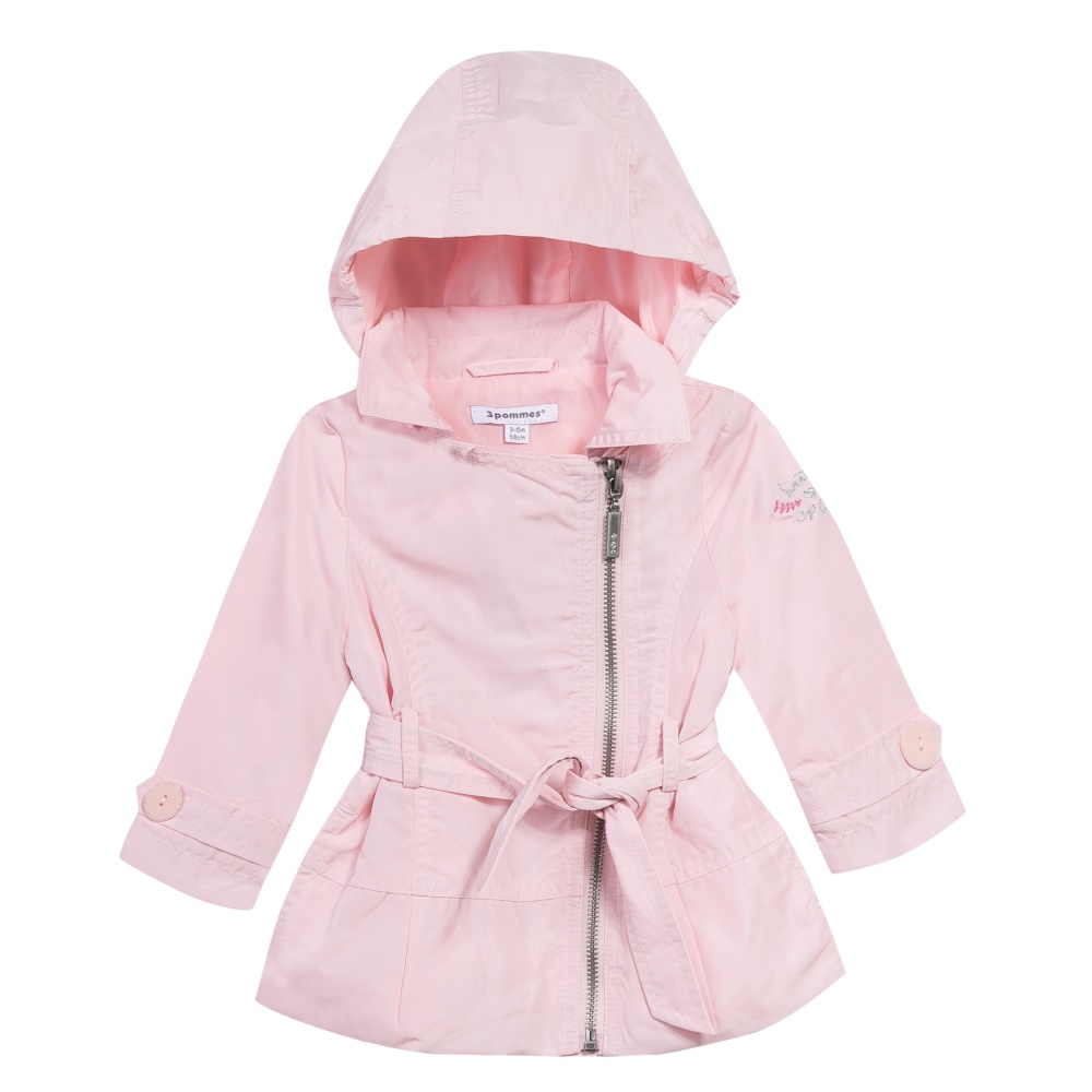 2b9e99f605be 3 Pommes Baby Girls Pale Pink Raincoat