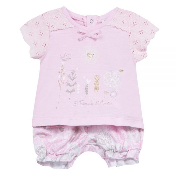 3 Pommes Baby Girls Pink Shorts & Top Outfit