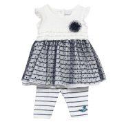 3 Pommes Baby Girls Navy Blue Dress & Leggings