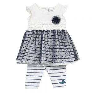 3 Pommes Baby Girls Navy Blue Dress & Leggings