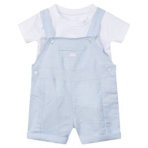Absorba Baby Boys Blue Dungaree Shorts Set