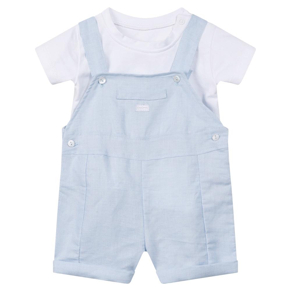 Absorba Baby Boys Blue Dungaree Shorts Set