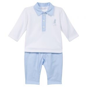 Absorba Baby Boys Blue & White Top & Trousers