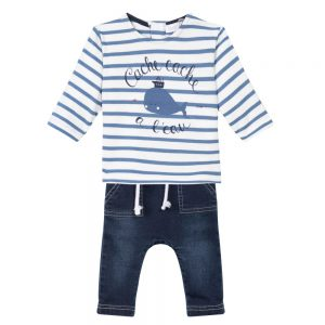 Absorba Baby Boys Blue Stripe Top & Trousers Set