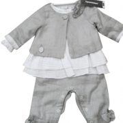 3 Pommes Baby Girls White & Grey 2 Piece Dress