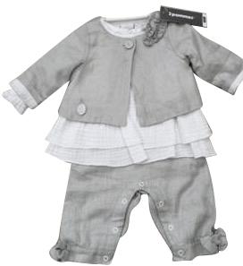 3 Pommes Baby Girls White & Grey 2 Piece Dress